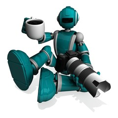 3D Photographer Robot Turquoise Color With DSLR Camera And White Lens, A Cup Of Coffeel On Right Hand