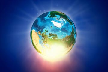 Globe on blue backdrop