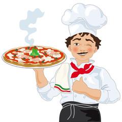 Pizzaiolo con Pizza