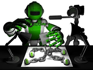 Printed roller blinds Military 3D Photographer Robot Green Color, How Use A Creativity Get Success In Photography