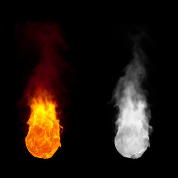 Fireball with rising flame with alpha channel
