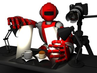 3D Photographer Robot Red Color, Food Photography, Cake And A Cup Of Milk