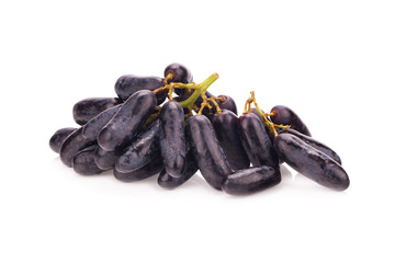 sweet black sapphire grapes on white background