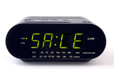Clock Radio with the word SALE