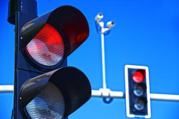 Traffic lights over blue sky Fotomurales