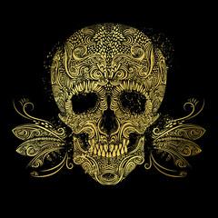 Golden skull. Floral gold pattern