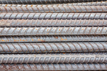 Stack of the metal rusty or steel rod