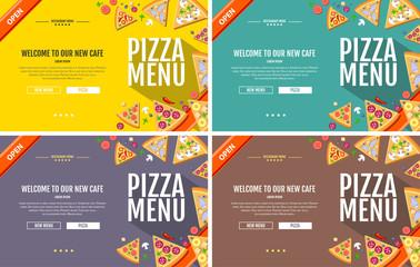 Flat style pizza menu concept Web site design. Corporate identity