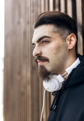 Portrait of stylish young man with headphones