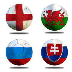 Soccer Euro 2016 ( Football )  England,  Slovakia,  Welsh and Ru
