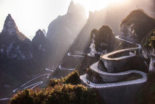 The winding road of Tianmen mountain national park, Hunan provin