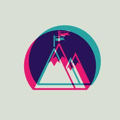 Mountain peak with flag in round icon