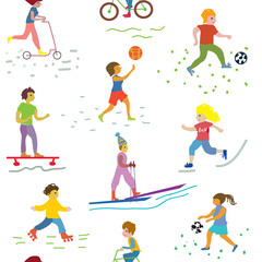 People and sport seamless pattern - funny vector
