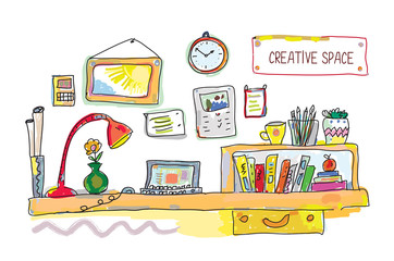 Creative place for work banner - illustration