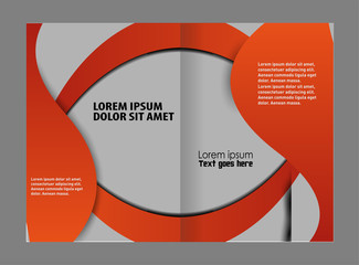 Bi-fold brochure template design with red color