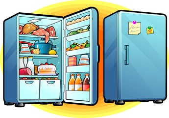 Refrigerator with Full Of Food. Closed and Opened. Cartoon style.  Kitchen concept. Vector Illustration