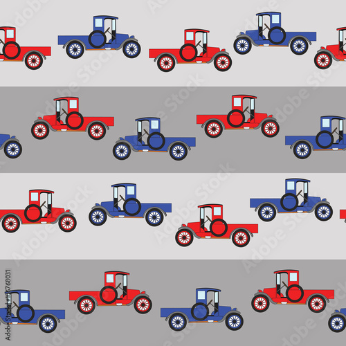 Background Blue And Red Cartoon Retro Car Pattern Vector Retro