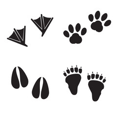 Collection of animal foot prints. Vector art.