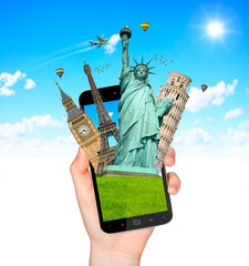 Famous monuments of the world going out of a mobile phone