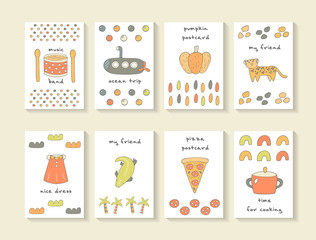 Cute hand drawn doodle baby shower cards, brochures, invitations
