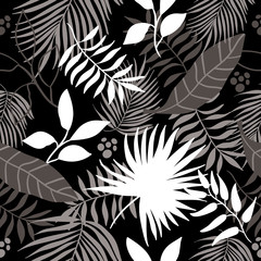 tropical leaves seamless pattern in black and white