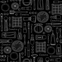 Vector seamless pattern with hand drawn isolated cosmetics for women on black color