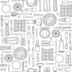 Vector seamless pattern with hand drawn isolated cosmetics for women on white color