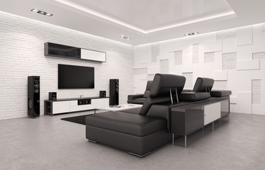 Home Theater Interior with Billiard Table. 3d Illustration. Fototapete