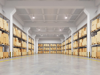 Warehouse with many racks and boxes. 3d illustration.