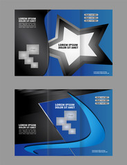 Vector modern blue tri-fold brochure design template with colorful abstract 3d background