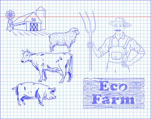 beautiful beef diagram, pork, lamb and farmer