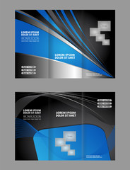 Vector empty trifold brochure template design with blue
