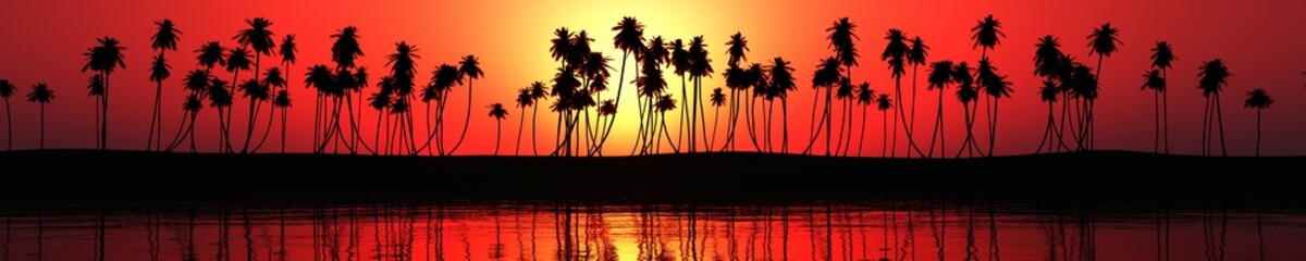 panorama of sea sunset over a tropical beach. light over palm 3D rendering, banner.