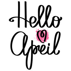 Handmade vector calligraphy and text Hello spring