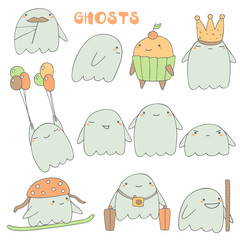 Cute hand drawn ghosts collection