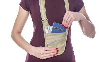 Passport and money in the mobile bag.