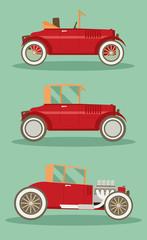 Vector retro car set. Flat vector.