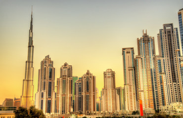 Skyscrapers in Business Bay district of Dubai, UAE