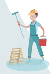 Vector illustration of window washer holding wiper in his hand and clean you window and bucket in his other hand