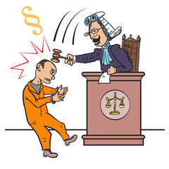 Angry judge with gavel makes verdict for law. Cruel judge beats the defendant a gavel on the head. Vector cartoon  illustration