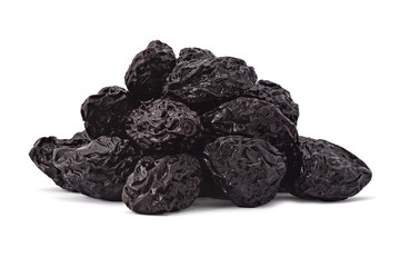 Pile of raw organic prunes, dried plums, isolated on a white background