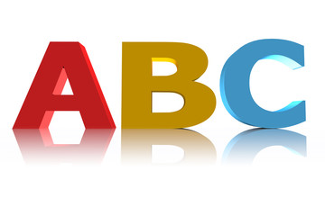 3d illustration featuring multicolored capital abc on white reflective surface