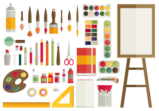 flat design vector illustration icons set of art supplies