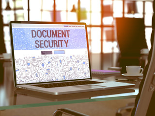 Document Security Concept. Closeup Landing Page on Laptop Screen in Doodle Design Style. On background of Comfortable Working Place in Modern Office. Blurred, Toned Image. 3D Render.