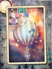 Hot air balloon in the sunset of fire - old fashioned postcard