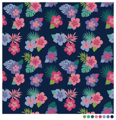 Hibiscus and palm leaves seamless vector pattern