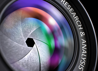 Lens of Camera with Research & Analysis Concept, Closeup. Lens Flare Effect. Research & Analysis Written on Digital Camera Lens with Shutter. Colorful Lens Reflections. Closeup View. 3D Illustration.