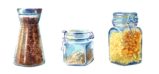 Set of kitchen jars painted in watercolour