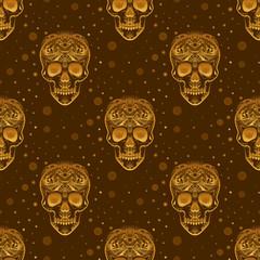 Gold ornamental sugar skull pattern. Dia de los Muertas (Day of