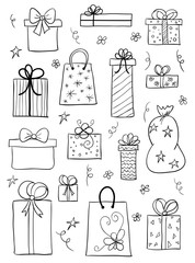 Gift boxes set. Hand drawn vector sketch